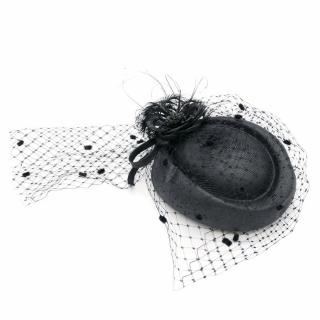 Marzi Firenze Black Pillbox Hat with Feathers and Veil