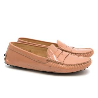 Tod's Pink City Gommino Patent Leather Loafers