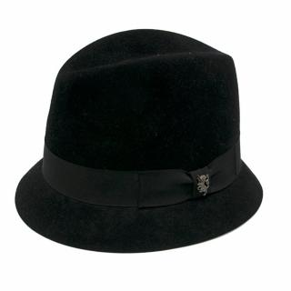 Phillip Treacy Black Velour Trilby Hat