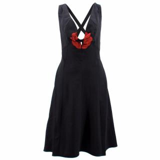 YSL Black Cotton Dress with Embellished Red Flower