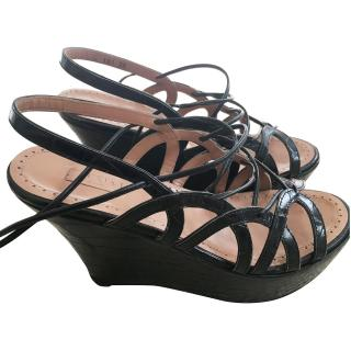 Alaia Black Embossed Lace-up Wedges