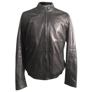 Hugo Boss Nestroy Black Lambskin Leather Jacket Size EU52 XL