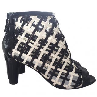 Chanel basket weave peep toe boots