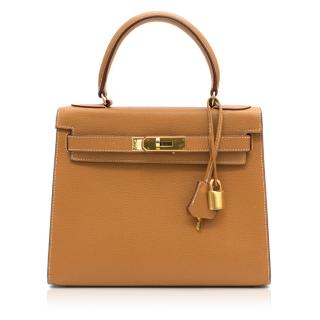Reina Tan Leather Padlock Bag
