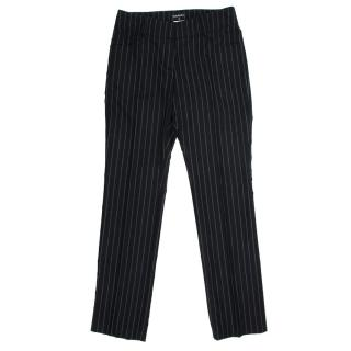 Chanel Black Wool Pinstriped Trousers