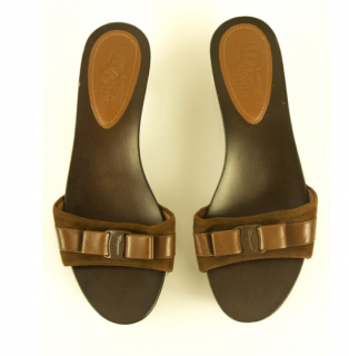 salvatore ferragamo - Brown Leather And Suede Mules