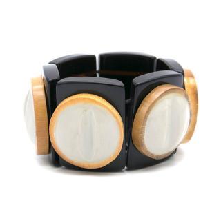 Marni Elasticated Wooden Detail Cuff