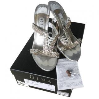 Gina silver jewelled mules