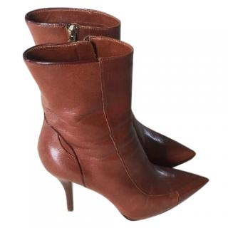 Fendi Brown Leather Ankle Boots