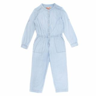 Bonpoint Denim Jumpsuit With Long Sleeves
