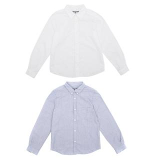 Bonpoint Kids White and Blue Cotton Shirt Set