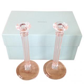 Tiffany glass candlesticks 26cms