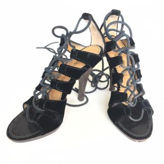 YVES SAINT LAURENT black velvet lace up platform sandals
