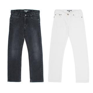 Bonpoint White and Grey Jean Set