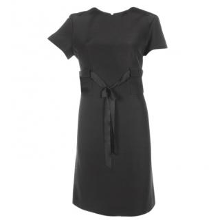 Balenciaga black knee length dress with bow belt