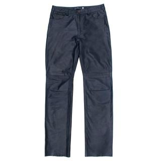 Earl Jean Navy Leather Trousers