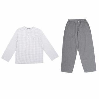 Bonpoint Checked Shirt and Grey Trousers Pyjama Set