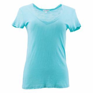 James Perse Blue V-Neck Cotton T-Shirt