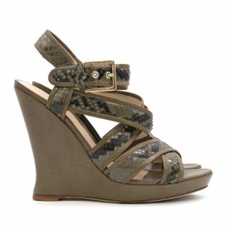 Alexandre Birman Green Python Strap Wedges