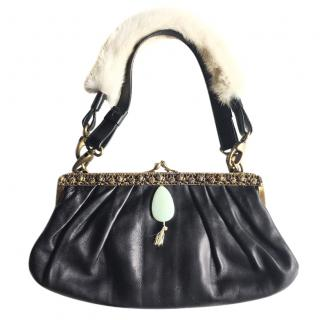 BARBARA BUI black leather hand bag with fur trimmed handle
