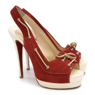 Christian Louboutin Red and Cream Platform Heels