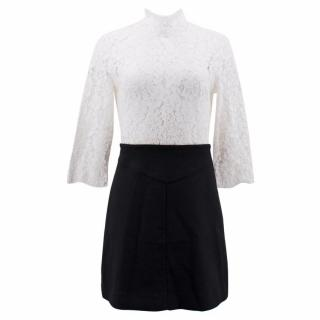Sandro White and Black Lace Dress