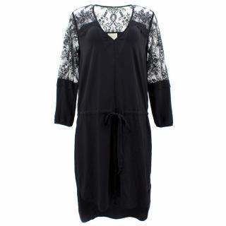Mason Black Silk Dress With Lace Sleeves