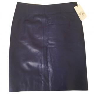 Tara Jarmon Navy Leather Skirt