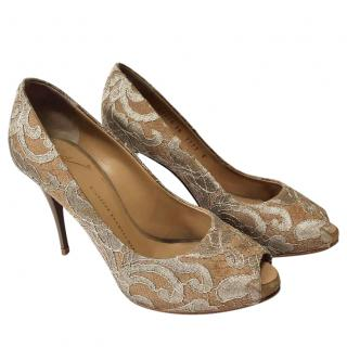 Giuseppe Zannoti taupe brocade shoes