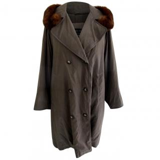 Louis Feraud warm trench coat with fur collar