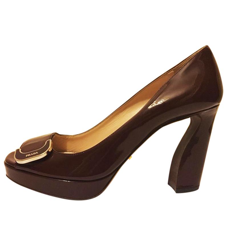 Prada Patent Leather Sculptured Chunky Heel Pumps