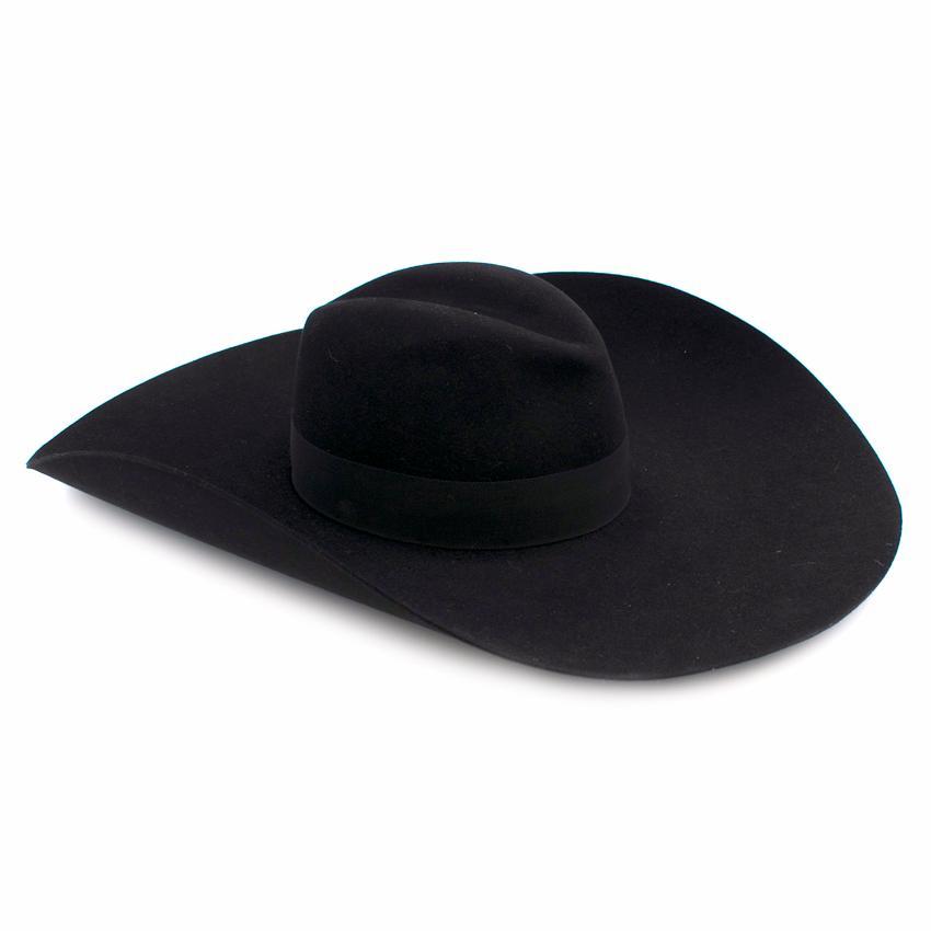 9e124ef578148 Saint Laurent Black Extra Wide Brimmed Fedora Hat121192 | HEWI London