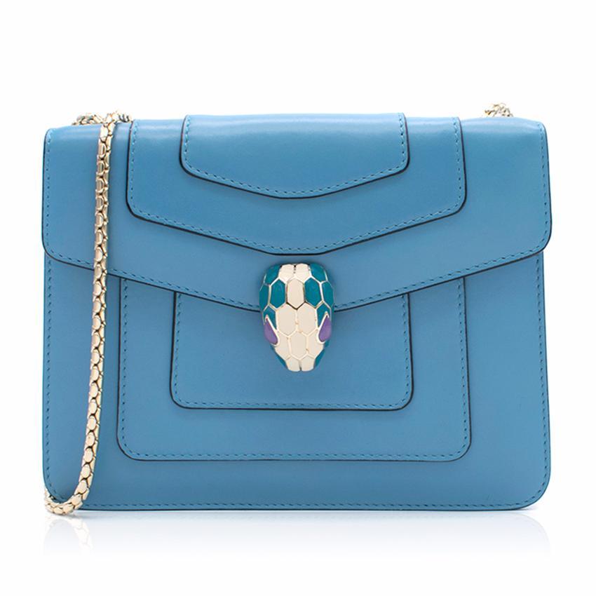Bvlgari 'Serpenti Forever' Blue Flap Cover Bag
