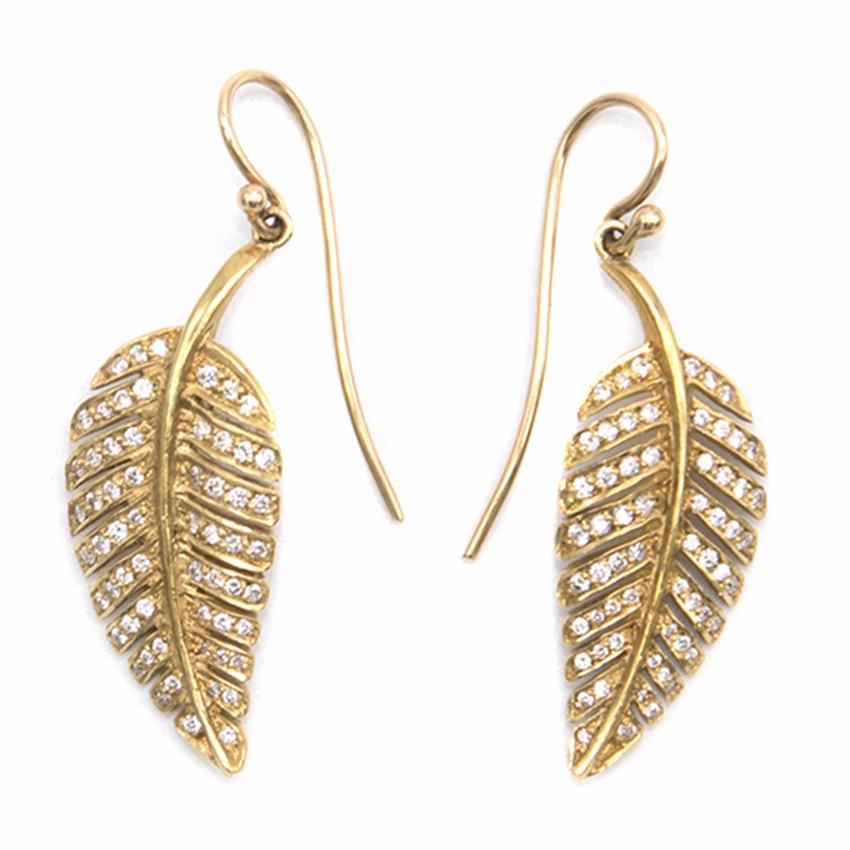 Jennifer Meyer Diamond Mini Leaf Drop Earrings