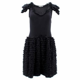 Bottega Veneta Black Ruffle Silk Dress