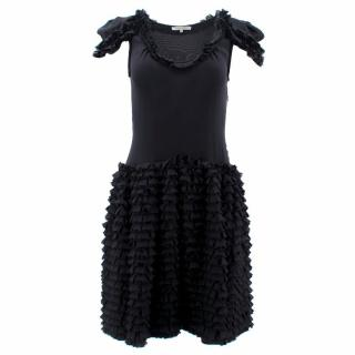 Bottega Veneta Black Ruffle Silk Dress