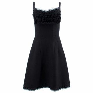 Prada Black Wool Dress With Ruffle Detail