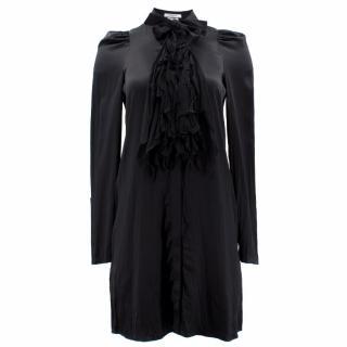 Givenchy  Black Silk Dress With Ruffle Collar