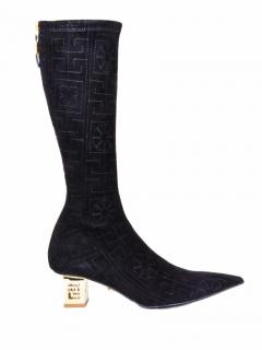 Versace suede patterned gold heel boots