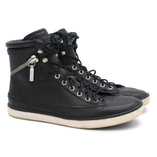 Balmain Leather High-Top Trainers