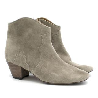Isabel Marant Dicker Beige Leather Mid-Heel Ankle Boots