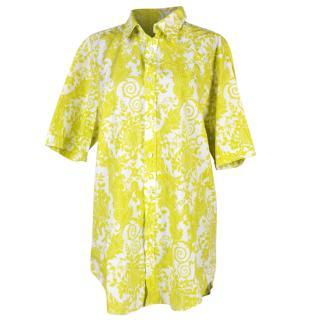 Versace yellow printed short sleeved  shirt