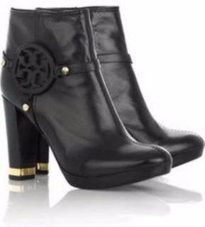 TORY BURCH black leather logo ankle boots