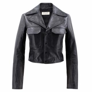 Saint Laurent Paris Black Calf Leather Jacket