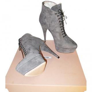 Miu Miu Nebbia Grey Suede Platform Ankle Boots