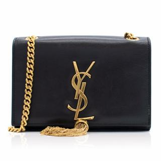 YSL Classic Small Kate Tassel Satchel in Black Leather
