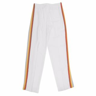 Chloe White Rainbow Stripe Track Trousers