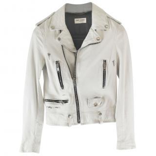 Saint Laurent smudge print biker jacket - XS