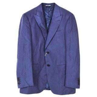 Canali silk-blend blue jacket