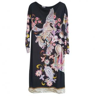 Etro long sleeved black kaftan dress with floral print